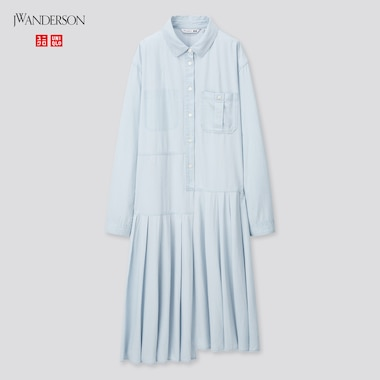Women Pleated Long-Sleeve Shirt Dress (Jw Anderson), Blue, Medium
