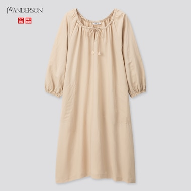 Women Linen Blend Gathered 3/4 Sleeve Dress (Jw Anderson), Beige, Medium