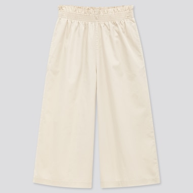 Girls Wide Cropped Pants, Off White, Medium