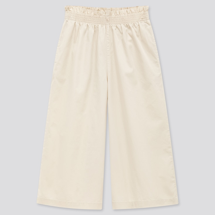 Girls Wide Cropped Pants, Off White, Large