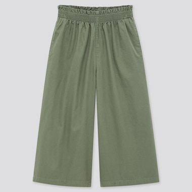 Girls Wide Cropped Pants, Green, Medium
