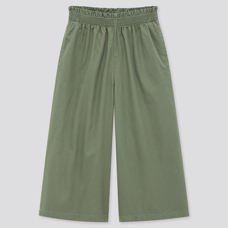 Girls Wide Cropped Pants, Green, Large