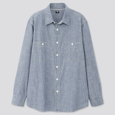 Men Chambray Long-Sleeve Work Shirt (Online Exclusive), Blue, Medium