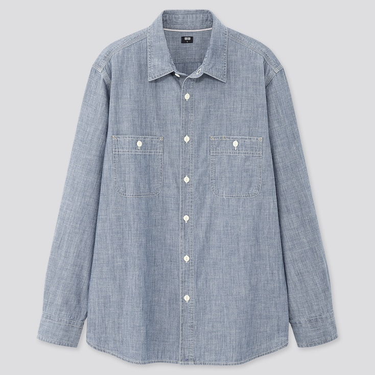 Men Chambray Long-Sleeve Work Shirt (Online Exclusive), Blue, Large