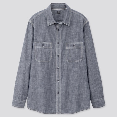 Men Chambray Long-Sleeve Work Shirt, Blue, Medium