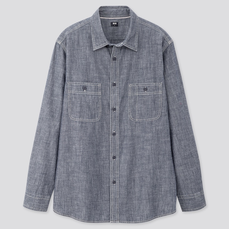 Men Chambray Long-Sleeve Work Shirt, Blue, Large