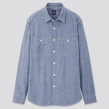Men Chambray Work Slim-Fit Long-Sleeve Shirt, Blue, Medium