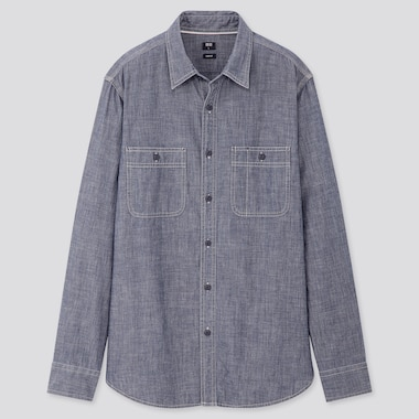 Men Chambray Slim Fit Work Shirt (Regular Collar)