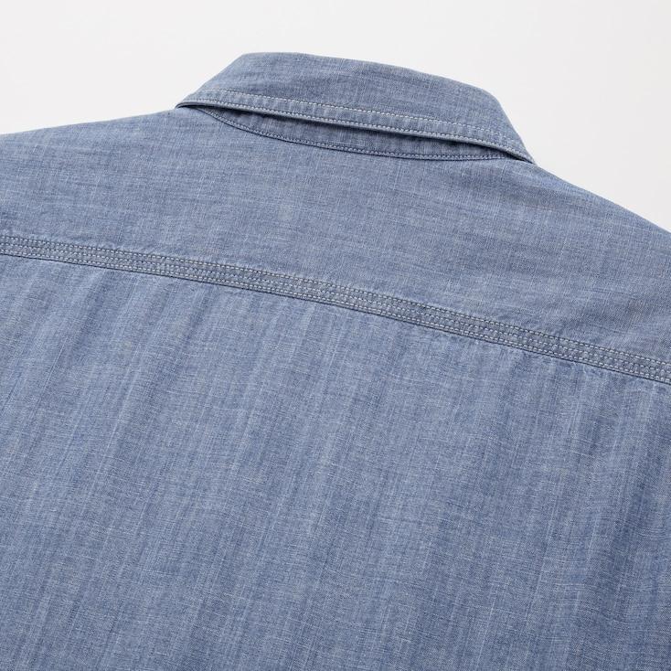 Men Chambray Work Slim-Fit Long-Sleeve Shirt, Blue, Large