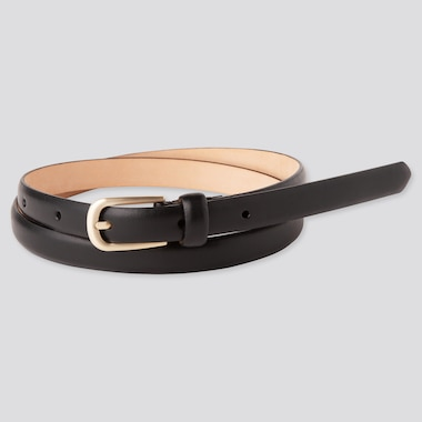 Women Dress Skinny Belt, Black, Medium