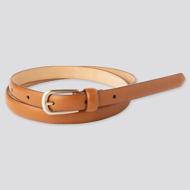 Women Dress Skinny Belt, Brown, Medium