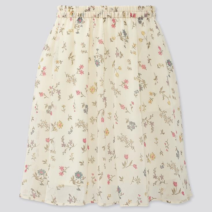 Girls Joy Of Print Chiffon Skirt, Off White, Large