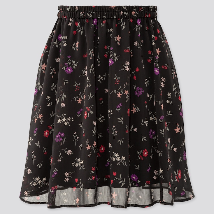 Girls Joy Of Print Chiffon Skirt, Black, Large