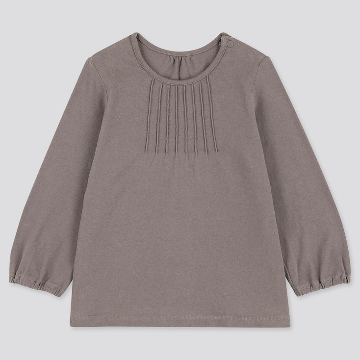Toddler Crew Neck Long-Sleeve T-Shirt, Gray, Large