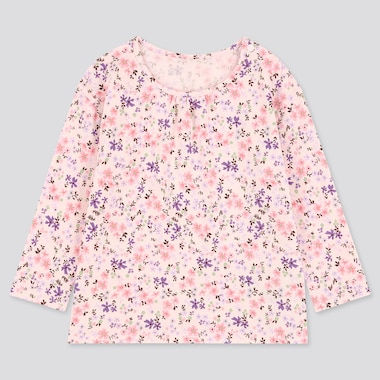 Babies Toddler Flower Print Crew Neck Long Sleeved T-Shirt