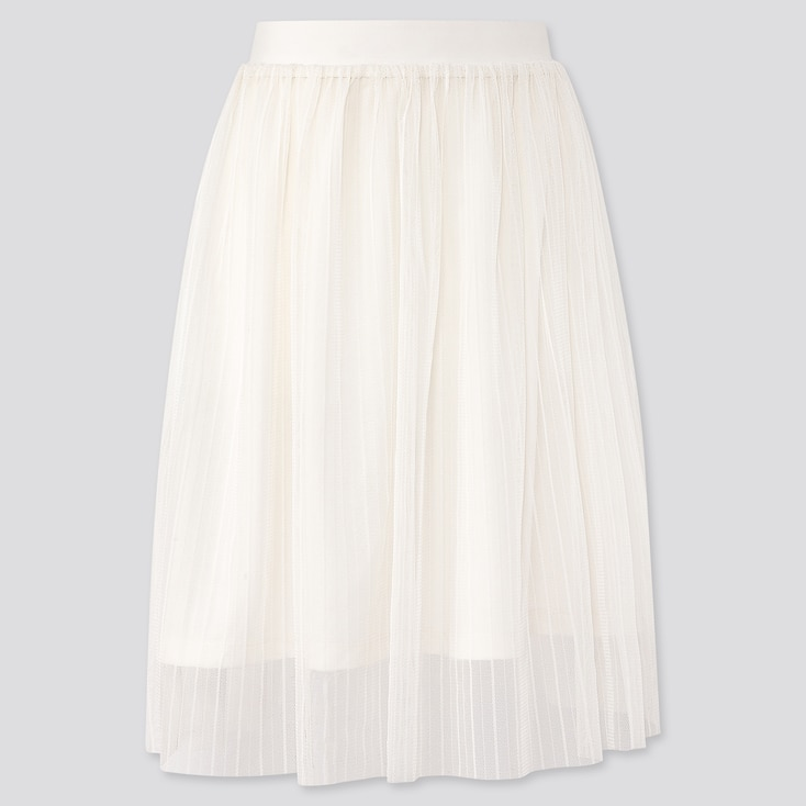 Girls Tulle Skirt, Off White, Large