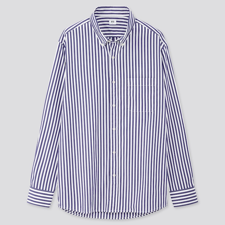 Men Extra Fine Cotton Broadcloth Long-Sleeve Shirt, Blue, Large