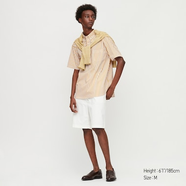 Men Extra Fine Cotton Pullover Broadcloth Short-Sleeve Shirt (Online Exclusive), Yellow, Medium