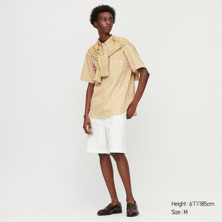 Men Extra Fine Cotton Pullover Broadcloth Short-Sleeve Shirt (Online Exclusive), Yellow, Large