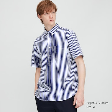 Men Extra Fine Cotton Pullover Broadcloth Short-Sleeve Shirt (Online Exclusive), Blue, Medium