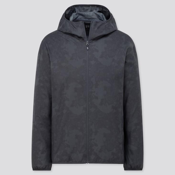 Men Pocketable Uv Protection Parka (Pattern), Dark Gray, Large