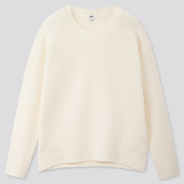 WOMEN LIGHT SOUFFLE YARN RELAXED CREW NECK SWEATER, OFF WHITE, medium