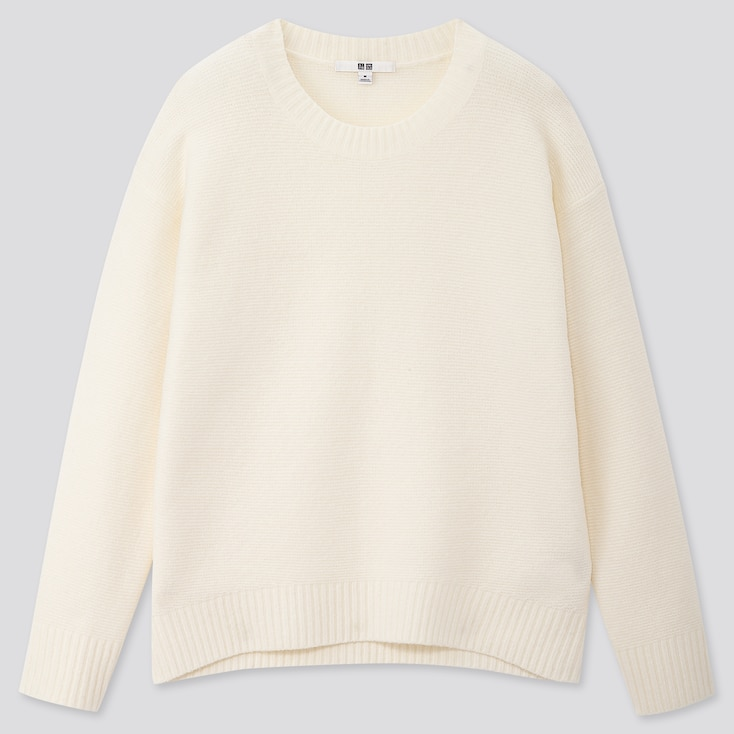 Women Light Souffle Yarn Relaxed Crew Neck Sweater, Off White, Large
