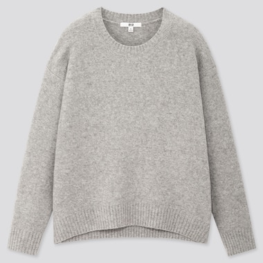 WOMEN LIGHT SOUFFLE YARN RELAXED CREW NECK SWEATER, GRAY, medium