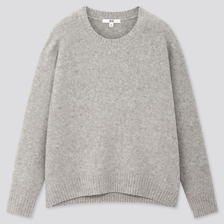 Women Light Souffle Yarn Relaxed Crew Neck Sweater, Gray, Large