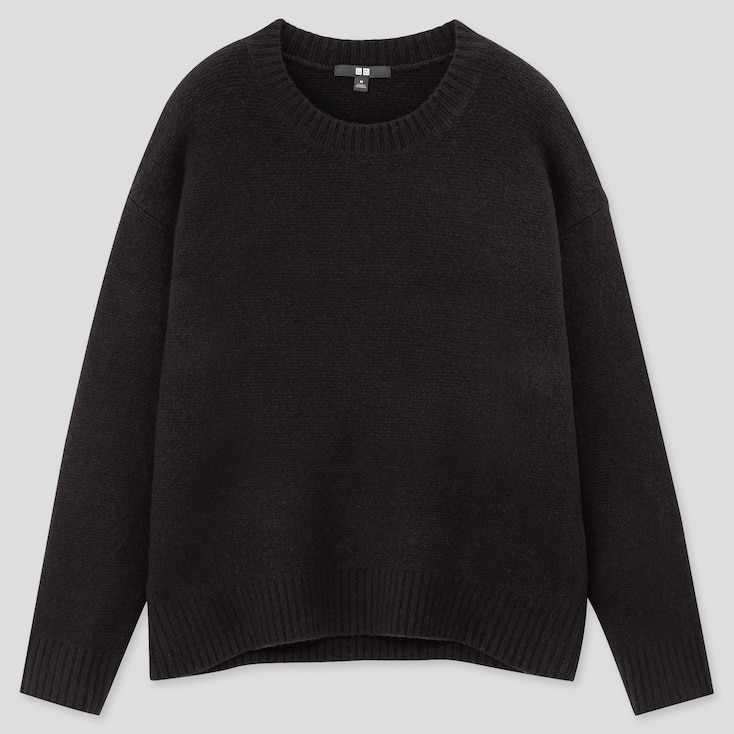 Women Light Souffle Yarn Relaxed Crew Neck Sweater, Black, Large