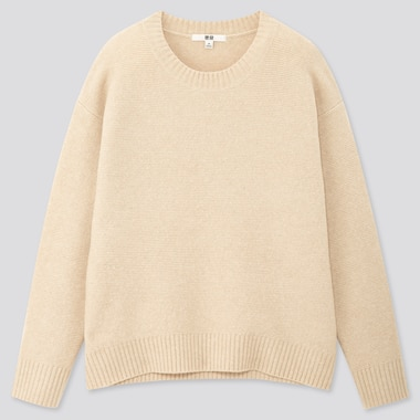 Women Light Souffle Yarn Relaxed Crew Neck Sweater, Natural, Medium