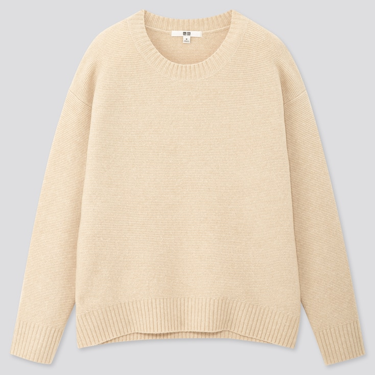 Women Light Souffle Yarn Relaxed Crew Neck Sweater, Natural, Large