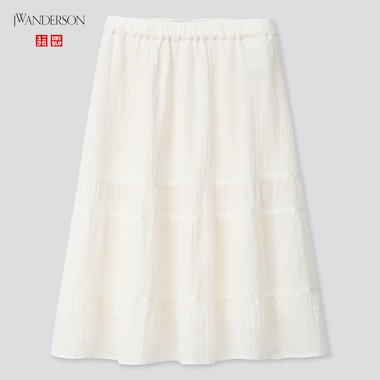 Girls Tiered Midi Skirt (Jw Anderson), Off White, Medium
