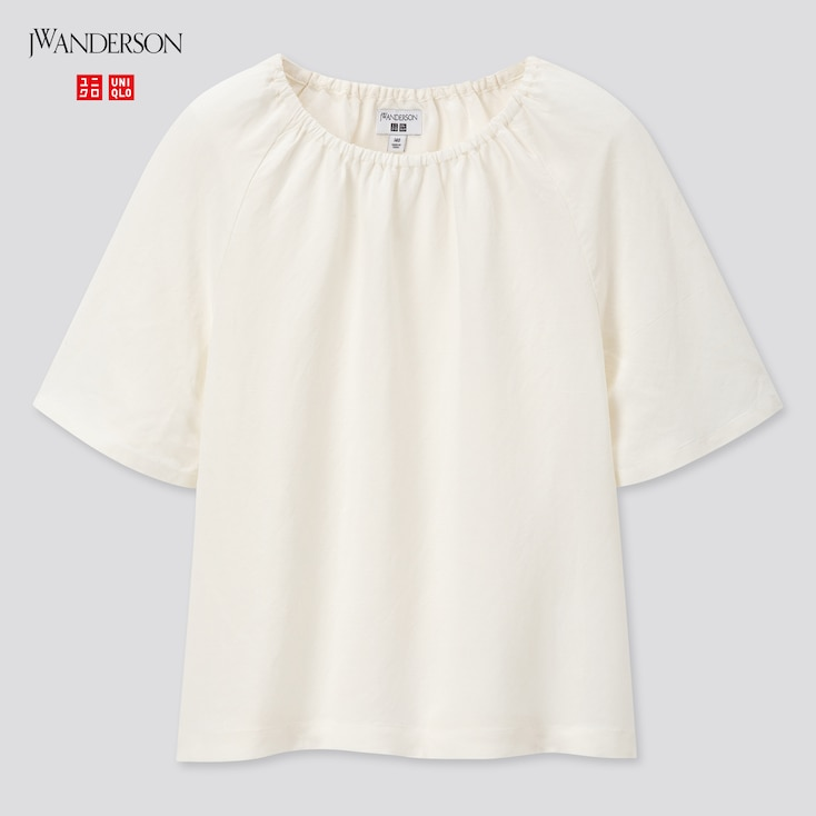 Girls Gathered Short-Sleeve Blouse (Jw Anderson), Off White, Large