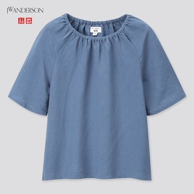 Girls Gathered Short-Sleeve Blouse (Jw Anderson), Blue, Medium