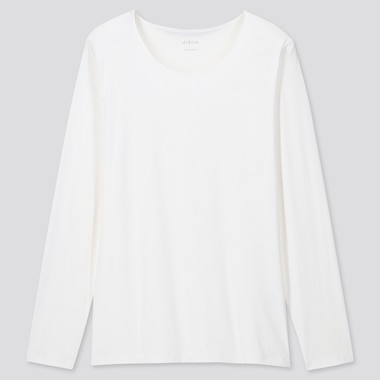 Women Airism Uv Cut Crew Neck Long-Sleeve T-Shirt (Online Exclusive), White, Medium