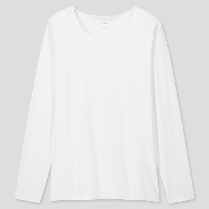 Women Airism Uv Protection Crew Neck Long-Sleeve T-Shirt, White, Large