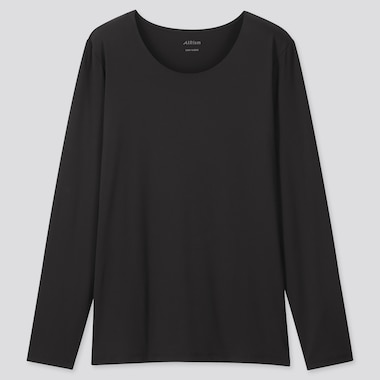 Women Airism Uv Cut Crew Neck Long-Sleeve T-Shirt (Online Exclusive), Black, Medium