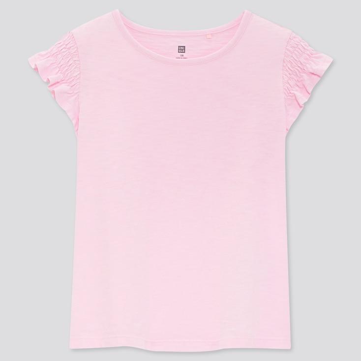Kids Slub Gathered Short-Sleeve T-Shirt, Pink, Large