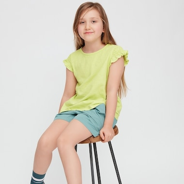Kids Slub Gathered Short-Sleeve T-Shirt, Light Green, Medium