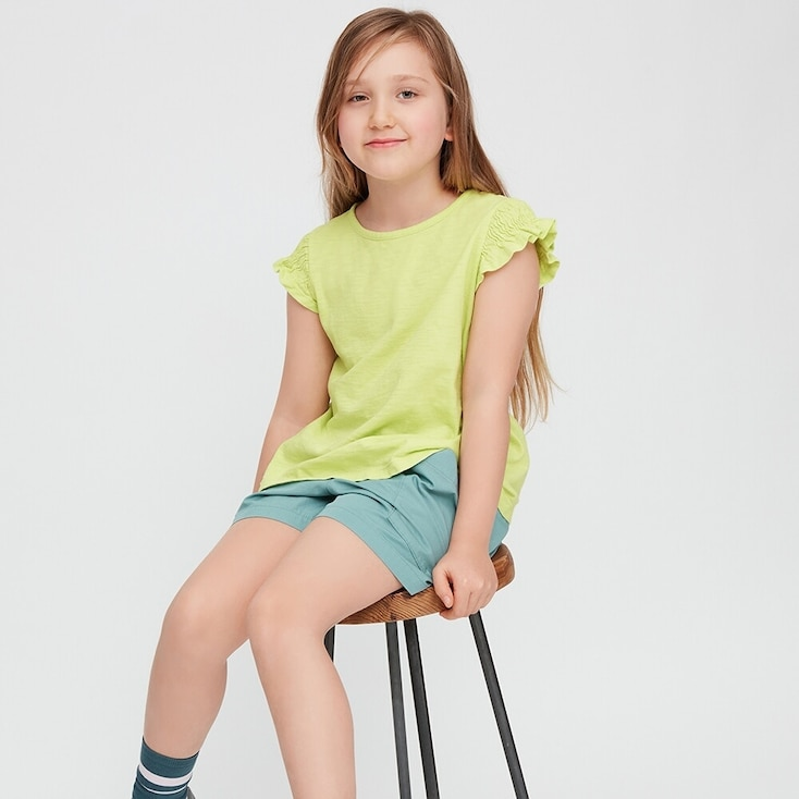 Kids Slub Gathered Short-Sleeve T-Shirt, Light Green, Large