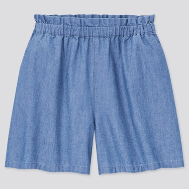 Girls Chambray Shorts, Blue, Medium