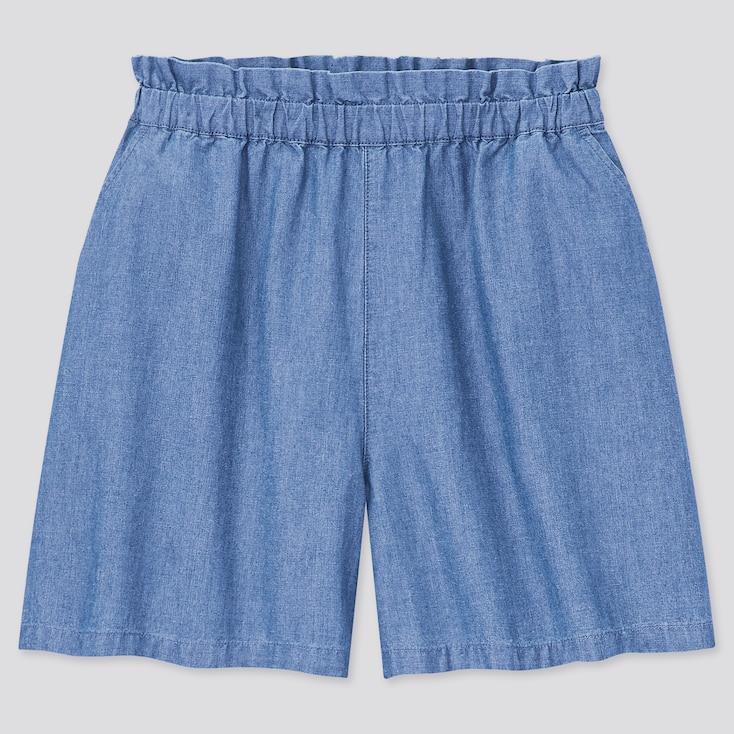 Girls Chambray Shorts, Blue, Large