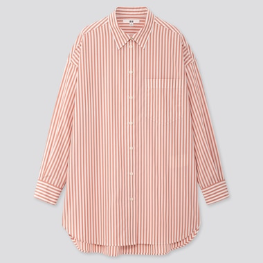 Women Extra Fine Cotton Oversized Striped Long-Sleeve Shirt, Pink, Medium