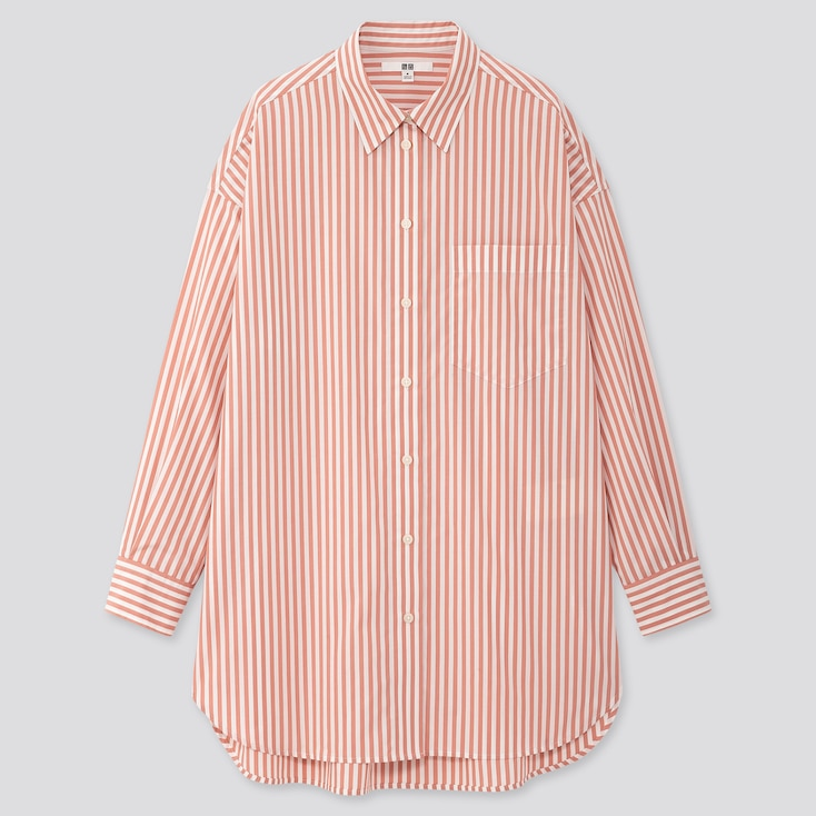 Women Extra Fine Cotton Oversized Striped Long-Sleeve Shirt, Pink, Large