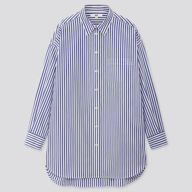 Women Extra Fine Cotton Oversized Striped Long-Sleeve Shirt, Blue, Medium