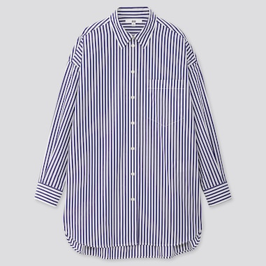 Women Extra Fine Cotton Oversized Striped Long-Sleeve Shirt, Navy, Medium