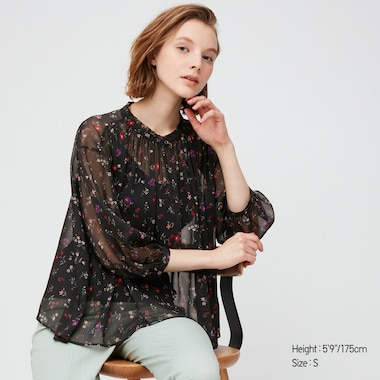 Women Joy Of Print Chiffon 3/4 Sleeved Blouse