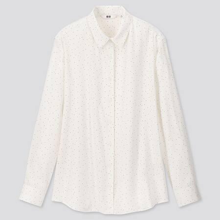 Women Rayon Polka Dot Long Sleeved Blouse