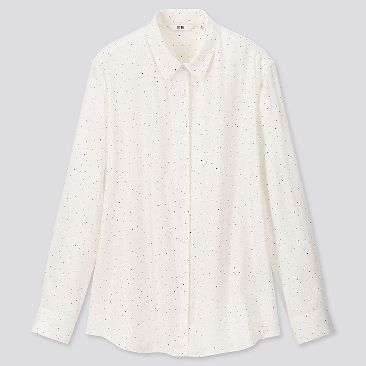 Women Rayon Printed Long-Sleeve Blouse, Off White, Large